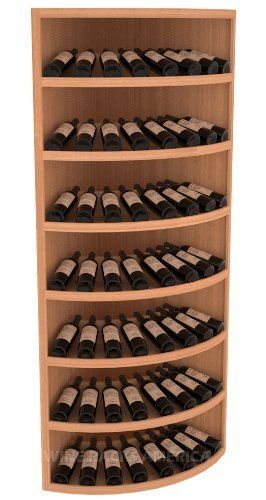 """Wooden 56 Bottle 7 Tier Quarter Round Display Wine Cellar Rack Storage Kit(Mahogany) by Wine Racks America®. $1616.72. Eco-friendly wood sources in sustainable forests. Some Assembly May Be Required.; Easy-edge Bottle Holders:Measuring 11/16"""" x 11/16"""" x 12 5/16"""" long - thicker and longer than the competition and your wine bottle labels won't tear because of the smooth, hand-sanded edges where the bottles lay.; Standard 3 3/4"""" bottle cubicles:Fits most of the 750 ml ..."""