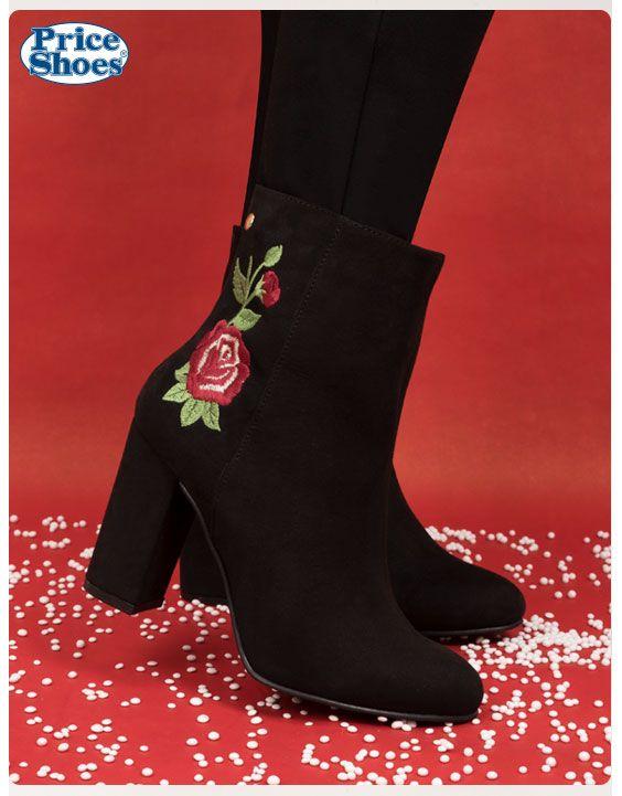 ¡Luce radiante!  #Botacorta #calzadodama #tacones #tendencias #bordados #flores #navidad2017 #invierno
