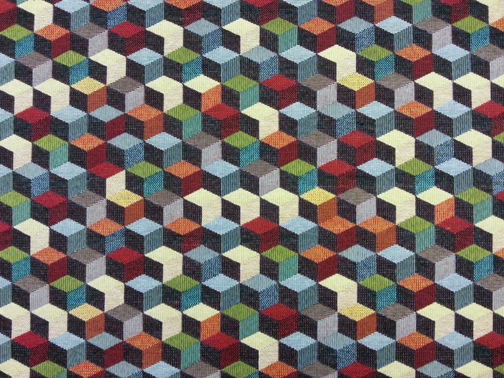 Cube Tapestry Multi Per Metre. Woven Tapestry Fabric, Suitable For  Curtains, Blinds, Light Upholstery, And A Variety Of Soft Furnishing  Projects.