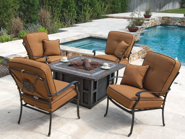 Athena Cushion Cast Aluminum 5 Pc. Firepit Chat Set, Very Cozy! Http: