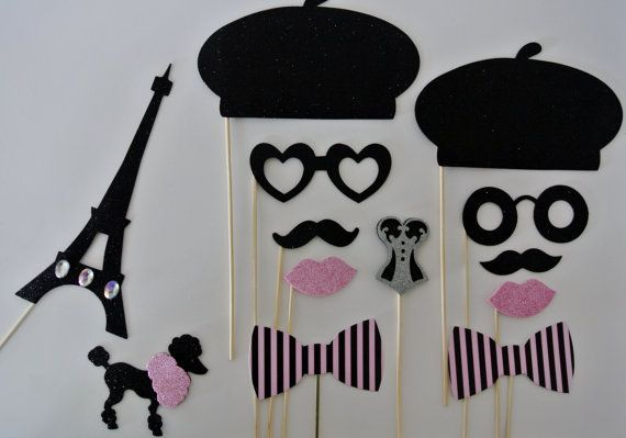 Parisian Inspired Wedding Photo booth props berets glasses eiffel tower Birthday props france parisian photo booth party props mustache