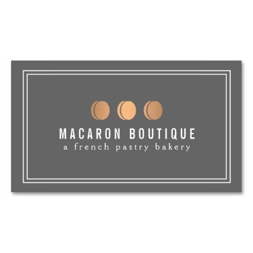 Elegant Copper Macaron Trio Logo on Gray Business Card Template for Bakeries, Chefs, Cafes and more - ready to personalize