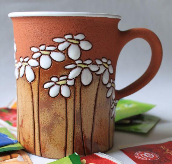 Taza de té con flores / motivo de margaritas - idea de regalo