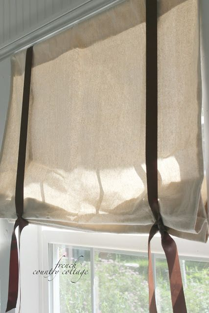 FRENCH COUNTRY COTTAGE: Drop cloth window shades