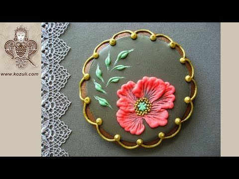 (132) Brush Embroidery Flower cookies. Poppy Flower. Cookie decorating with royal icing. Video tutorial. - YouTube