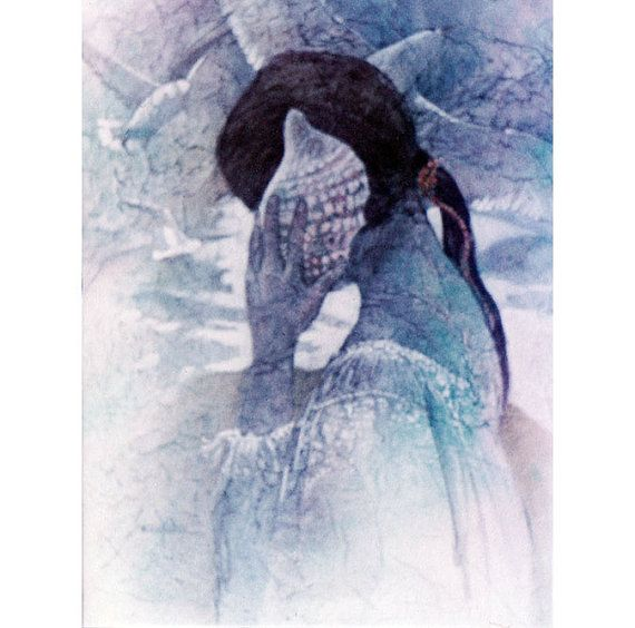 Girl And Seashell Listening To The Sea Watercolor Painting Seashore Gulls Soft