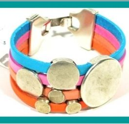 BUBBLES - Urban Bracelet in Leather and Zamak by Cozy Detailz * GIFT for her * Colorful Leather Bracelet * Cozy Detailz design