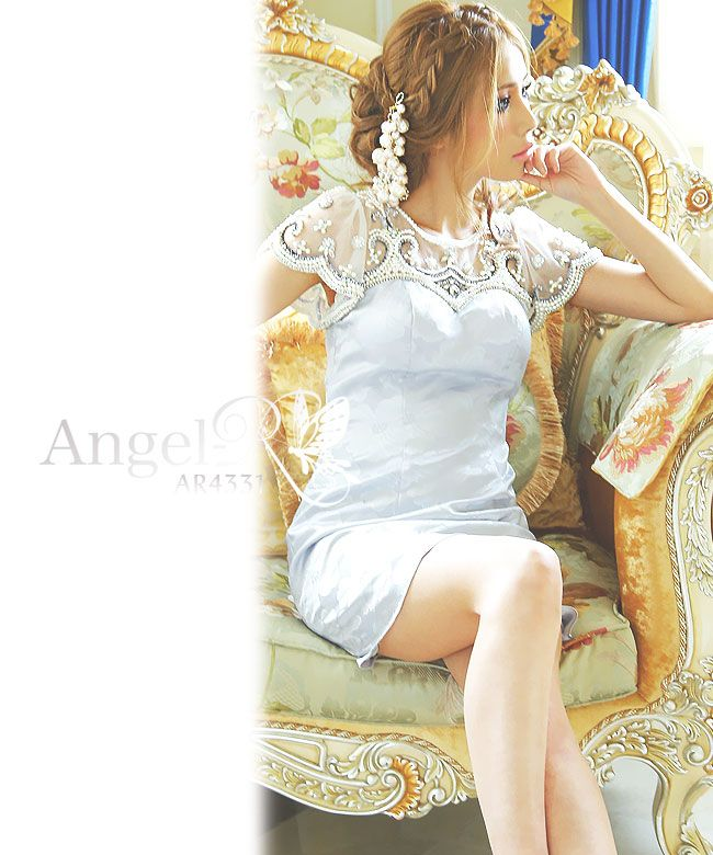 AngelR AR4331 エンジェルアール高級レース&上品なホワイトパールビジューミニドレスワンピース