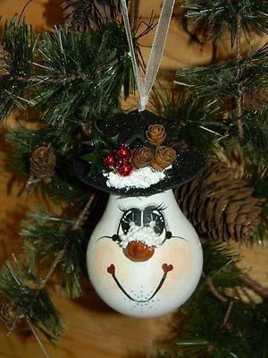 Handpainted Christmas Snowman LIGHTBULB Ornament | eBay