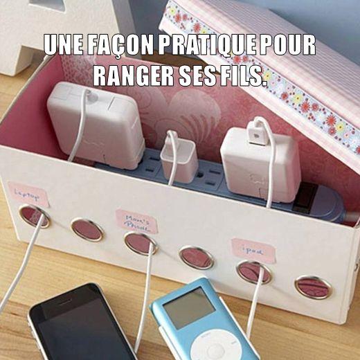 Idée originale pour ranger vos fils de chargeurs !!!