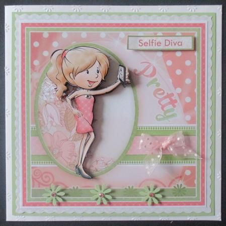 SELFIE DIVA Card Topper Decoupage on Craftsuprint designed by Janet Briggs - made by Davina Rundle