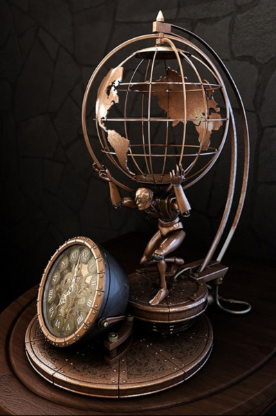 I really like the idea of a globe lamp, just maybe less steampunky :)