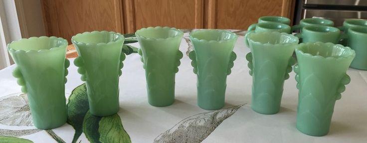 6 Fire King Jadeite Art Deco Table Vases ~ Jadite Green Milk Glass ~ Jade-ite  | eBay