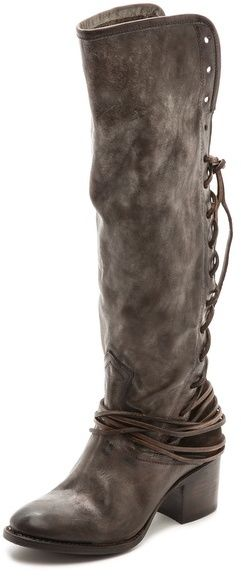 FREEBIRD by Steven Coal Lace Up Tall Boots, A lace-up back panel shapes the gusseted shaft of knee-high FREEBIRD by Steven boots. Burnishing lends a time-worn look the the soft leather upper, and embroidered seams add a hit of western influence. Exposed side zip. Stacked heel and leather sole.