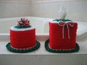 Crocheted Christmas Bathroom Set Christmas Xmas Holiday Decorating Decor