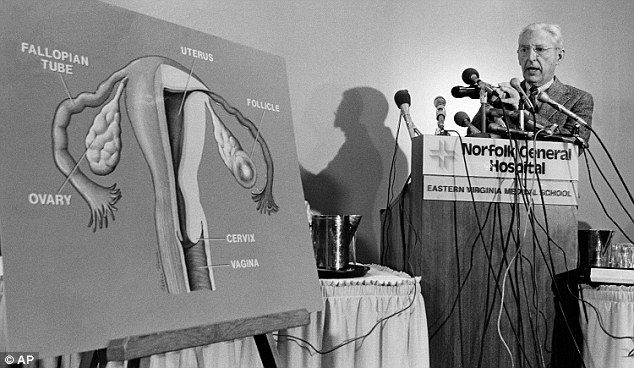 Jones explains the in vitro fertilization process during the 1981 news conference about Elizabeth's birth