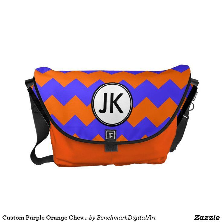 Custom Purple Orange Chevron Monogrammed Bag Large Messenger Bag