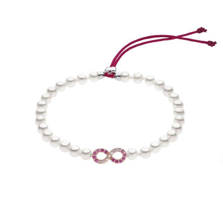Bracciale di perle coltivate Comete gioielli con cristalli rossi e zirconi by Comete gioielli  #bracciale #rosa #comete #gioielli #donna #zirconi #cristalli #bracciali #braccialetto #perle