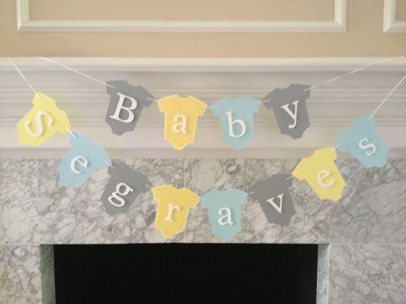 Baby Shower Decor, Baby Name Banner, Baby Banner, Baby Onesie Banner, It's A Girl Banner, It's A Boy Banner, Gender Neutral Banner, Custom
