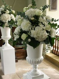 Large Urn Wedding Recetion Flowers For Entrance Of Marine Room