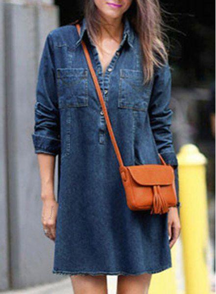Camisa Collar Chic de manga larga vestido de bolsillo Diseño Las mujeres de Denim