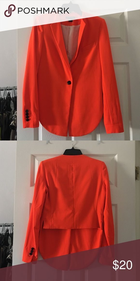 Orange blazer High low orange blazer with shoulder pads. Super cute! Never worn, brand new Caribbean Queen Jackets & Coats Blazers