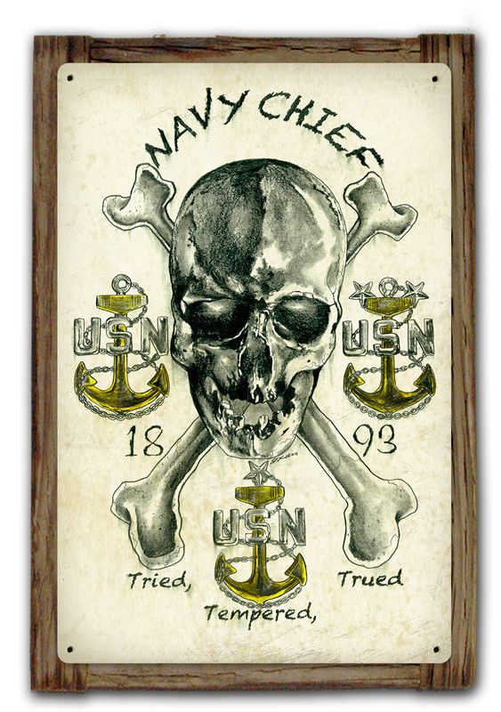 Navy Chief Tried, Tempered, Trued Metal Art Sign