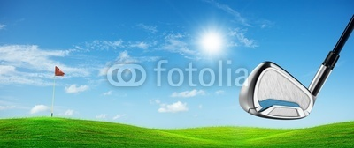 View of a golf course in sunny day. Panoramic composition.