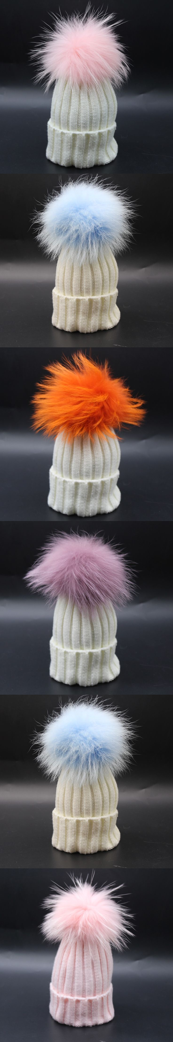kids colorful pom pom super big beanies for children knitted dyed genuine racccoon fur girl boy child white beanies knitted hat