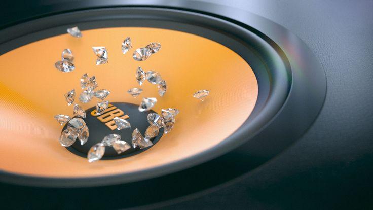 Diamantes saltando en un altavoz JBL