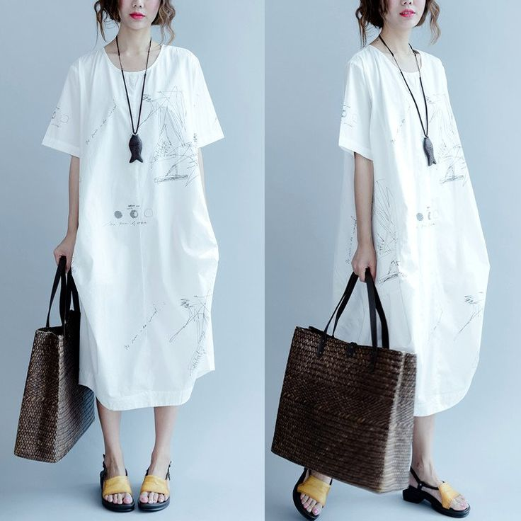 White and Blue Cotton Casual  Dress Women Clothes Q3100