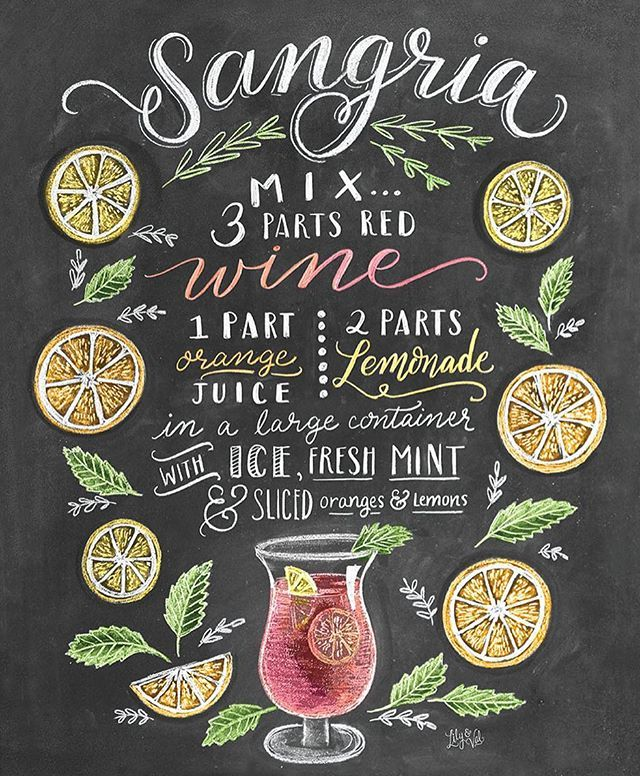 Although Sangria is not really my favourite, I love this chalkboard recipe by the amazing @valeriemckeehan