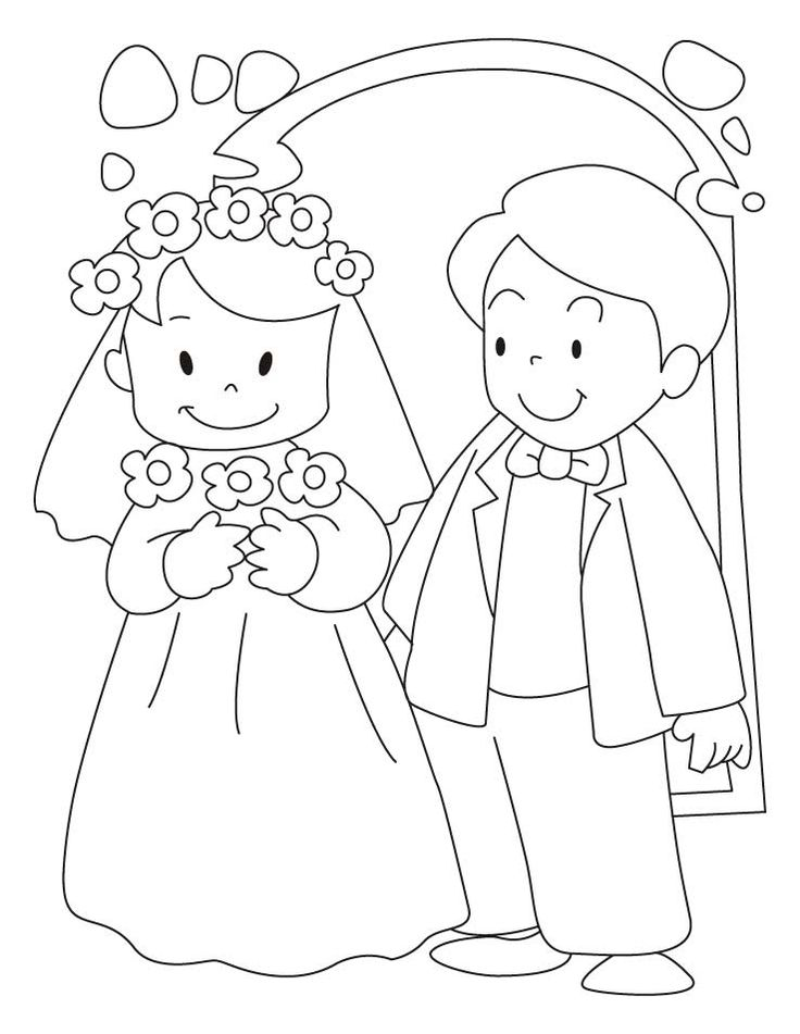 free bride and groom printable coloring page bride and groom coloring wedding coloring pageswedding activitieskid - Kids Wedding Coloring Book