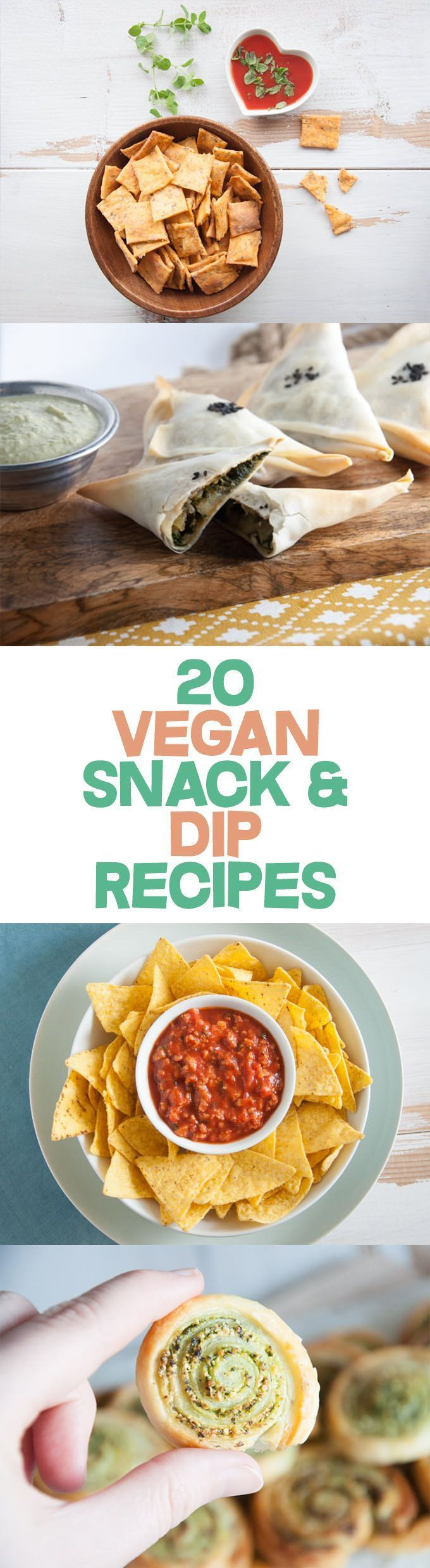 20 Vegan Snack And Dip. Talk about making healthy snacking with plant-based ingredients easy. Some delicious bite-sized sweet and savory snack recipes for anyone.  Some of the vegan recipes that are included: crackers, breadsticks, calzones, pinwheels, dips, and spreads.