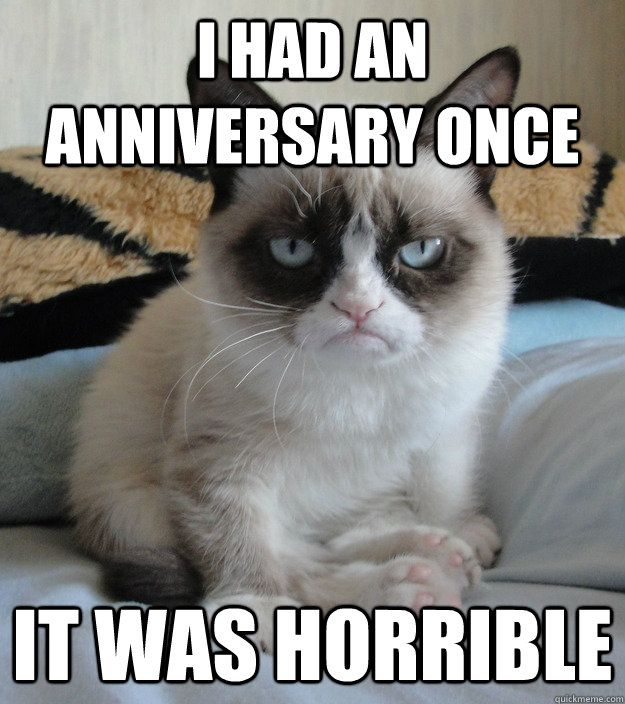 Funny Cat Meme About Work : I had an anniversary once it was horrible grumpy cat