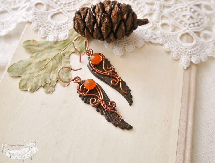 """Купить Серьги """"Забытый Ангел"""" - черный, готика, готические украшения, готический стиль, крылья"""