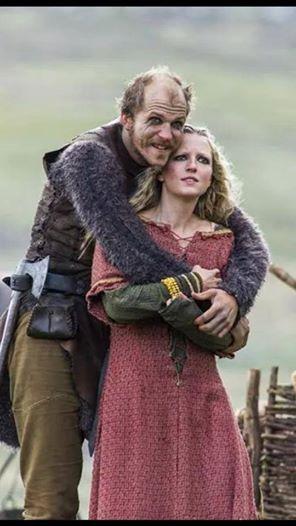 Helga's pink dress (Vikings, season two - Floki (Gustav Skarsgard) & Helga (Maude Hurst))