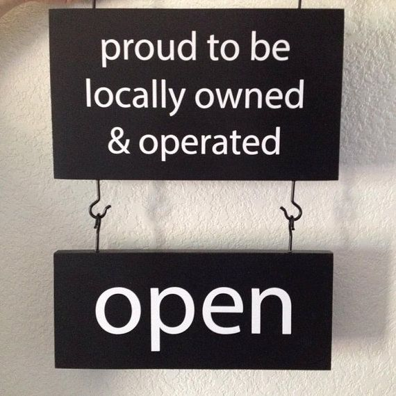 Business signage - 2 signs with hooks attached - Top one sided Proud to be…