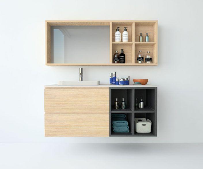 Muebles de baño a medida. Ejemplo de acabados en madera natural, laminados, lacas brillo o mate, etc.  unibaño-compactos-acabados-8