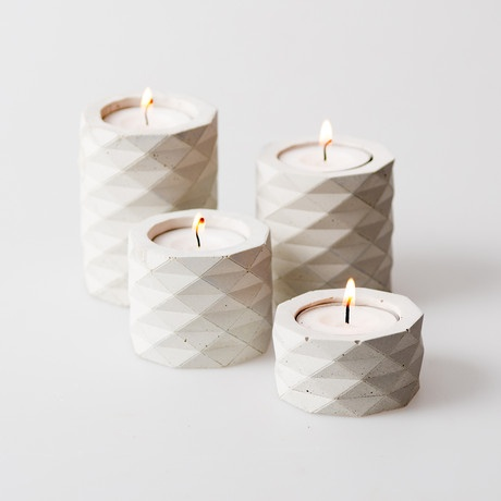 Concrete faceted candle holders