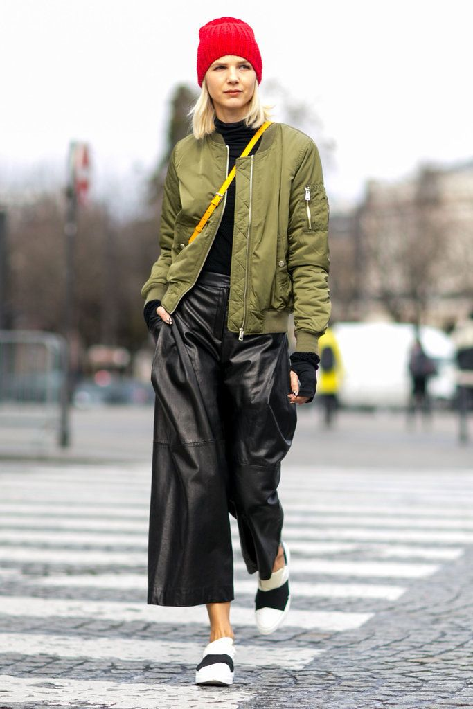 A bomber jacket, leather culottes, and sliders.