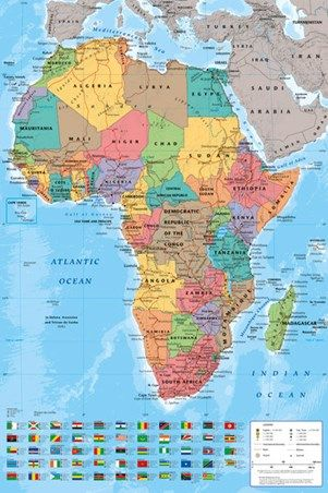 Map Of Africa To Scale.Map Of Africa Poster With Countries Drawn To Scale Comes With Free