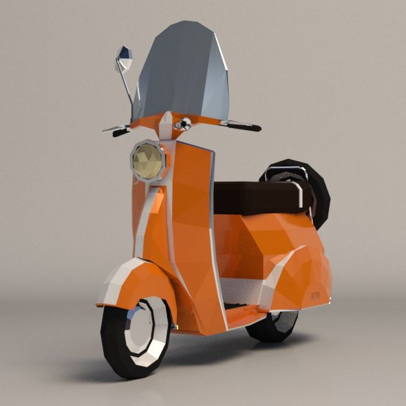 Low-Poly Cartoon Vespa Scooter  Editable 3D model of a