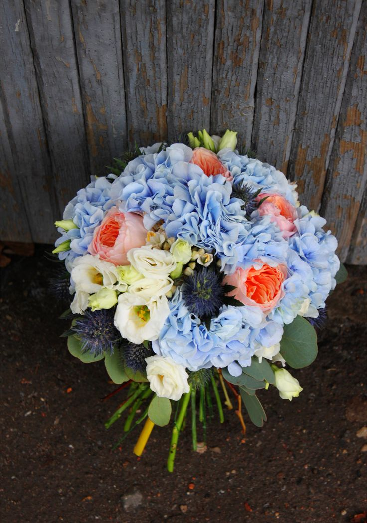 Sky blue bridal bouquet from our studio.