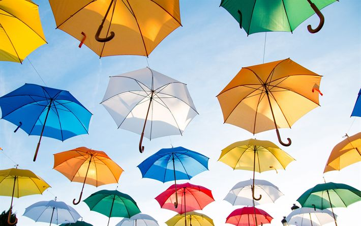 Download imagens Guarda-chuvas coloridos, cores brilhantes, guarda-sóis no céu, céu azul
