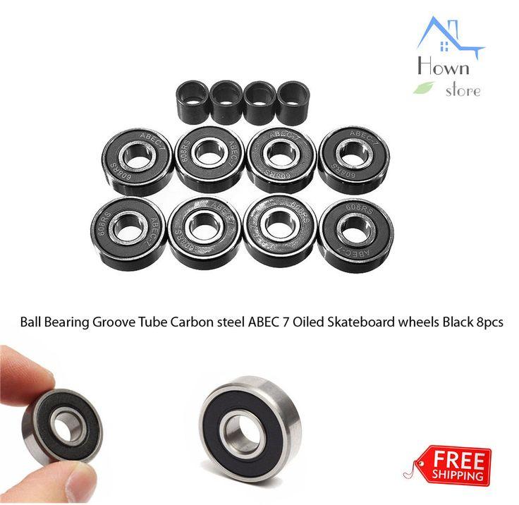 Ball Bearing Groove Tube Carbon Steel ABEC 7 Oiled Skateboard Wheels Black 8pcs  | eBay