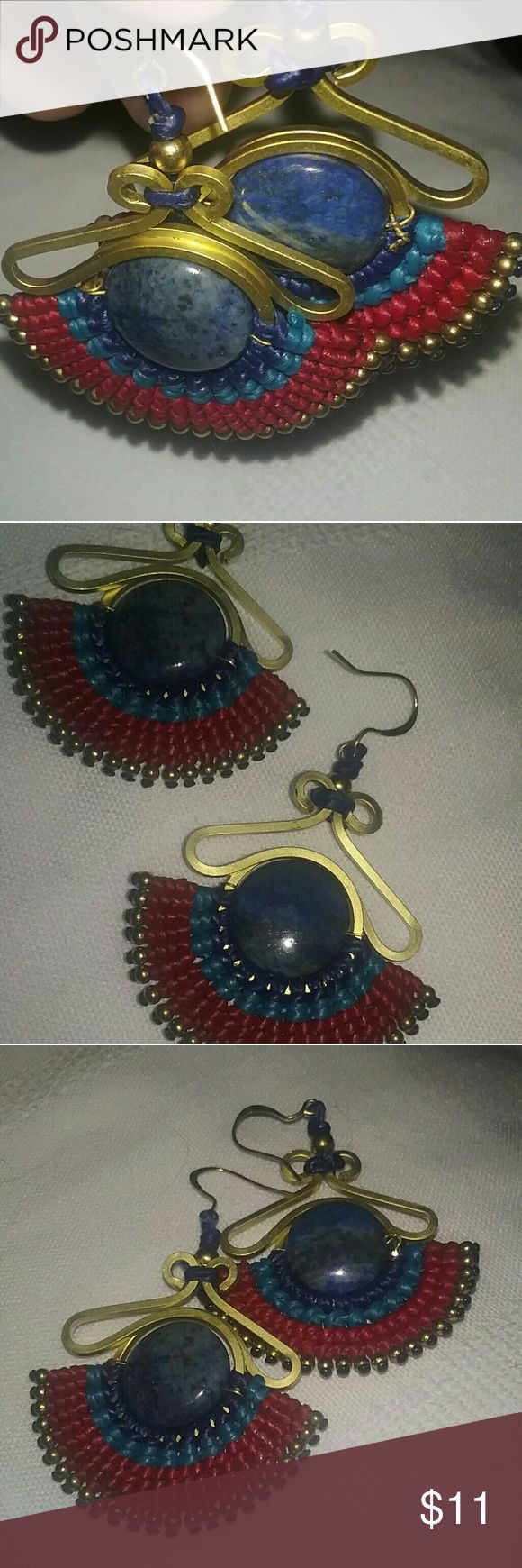 Handcrafted Earrings from Peru This pair of earrings is completely handcrafted by women in Peru under the Fair Trade Act. This means that the sales of the items completely support the local women who make them & their children & is their only means of income. These are beautifully designed & professionally handcrafted by one of these women.  Beautiful blue gemstone,  all hand beaded, one of a kind. Jewelry Earrings