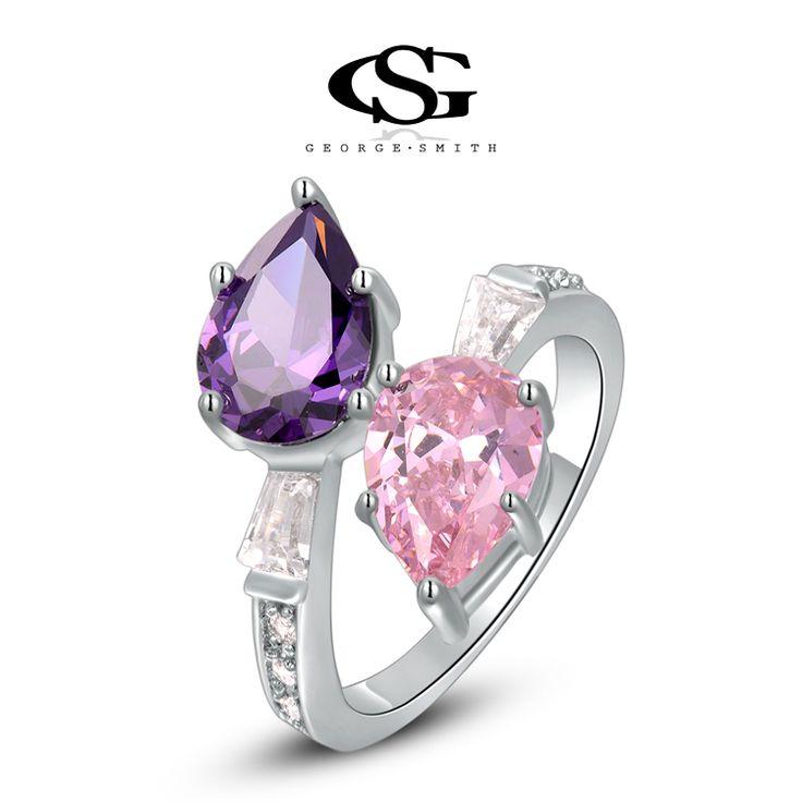 Luxe Liefdes Ring Platina Plated met prachtige Zwitserse Stenen