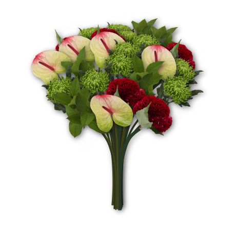 Ananstasia Green ( chrysanthemum) and Anthuriums. in our online flowershop bloomy creations.nl