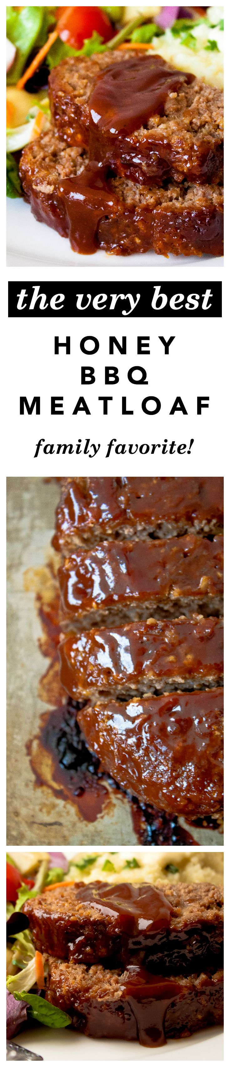 Honey Barbecue Meatloaf Recipe -  The best, moistest, most crowd-pleasing meatloaf EVER - made with honey for sweetness and bbq sauce for smokiness. Tried, true, and kid friendly!